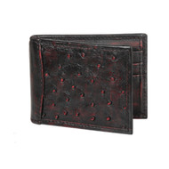 Lombardy - Black Cherry Genuine Ostrich Quill & Leather Men's Wallet - Money Clip