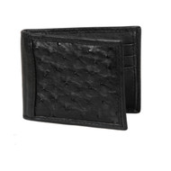 Lombardy - Black Genuine Ostrich Quill & Leather Men's Wallet - Money Clip