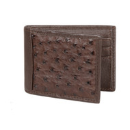 Lombardy - Brown Genuine Ostrich Quill & Leather Men's Wallet - Money Clip