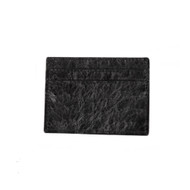 Lombardy - Black Genuine Ostrich Quill Credit Card Wallet
