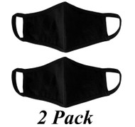 Adult - Black Cotton Face Covering Mask - 2 Pack