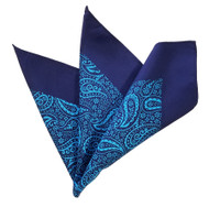 100% Silk 13.5in Pocket Square - Turquoise & Navy Blue Paisleys