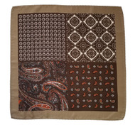 100% Silk Pocket Square -Brown & Taupe Paisley Design 12.5 x 12.5