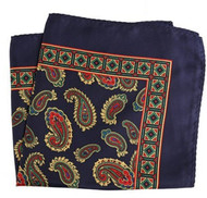100% Silk Pocket Square - Navy with Gold Paisleys 12.5 x 12.5