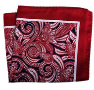 100% Silk Pocket Square - Dark Red Baroque Scroll Design 12.5 x 12.5