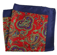 Silk Blend Pocket Square - Red & Navy Blue Paisleys 12.5 x 12.5