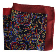 100% Silk Pocket Square - Dark Red & Navy Blue Paisleys 12.5 x 12.5
