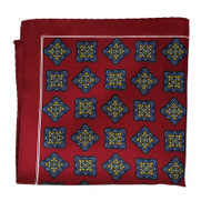 100% Silk Pocket Square - Burgundy Medallion Design 12.5 x 12.5