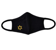 Adult - Black Cotton Face Covering Mask - Gold Religious Star of David