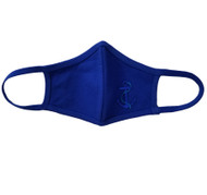 Adult - Blue Cotton Face Covering Mask - Ship Nautical Anchor Applique