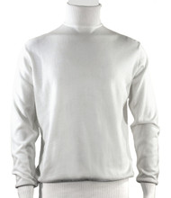 Bassiri Turtle-Neck Cotton Blend Knit Long Sleeve Sweater - White