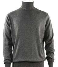 Bassiri Turtle-Neck Cotton Blend Knit Long Sleeve Sweater - Smoke Grey