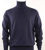 Bassiri Turtle-Neck Cotton Blend Knit Long Sleeve Sweater - Navy