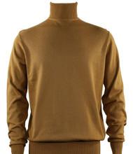 Bassiri Turtle-Neck Cotton Blend Knit Long Sleeve Sweater - Gold