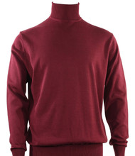 Bassiri Turtle-Neck Cotton Blend Knit Long Sleeve Sweater - Burgundy