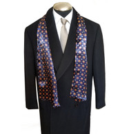 Men's Printed Silk Blend Long Scarf  - Navy Medallions