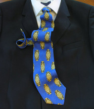 Antonio Ricci 100% Printed Silk Italian Tie - Baroque Art Emblems on Royal