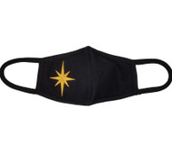 Adult - Black Cotton Face Covering Mask - Gold Religious Star of Bethlehem