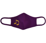 Adult - Purple Cotton Face Covering Mask - Music Note Applique