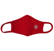 Adult - Red Cotton Face Covering Mask - Silver Metallic Snowflake