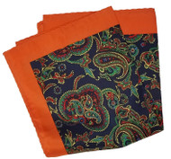 100% Silk Pocket Square - Navy & Green Paisleys with Orange 12.5 x 12.5