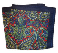 100% Silk Pocket Square - Dark Blue with Red & Green Paisleys 12.5 x 12.5