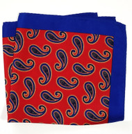 100% Silk Pocket Square - Bright Red & Royal Blue Big Paisleys 12.5 x 12.5