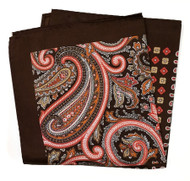 100% Silk Pocket Square -Brown Paisley Design 12.5 x 12.5