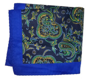 100% Silk Pocket Square -Royal Blue, Navy & Green Paisley Design 12.5 x 12.5