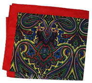 100% Silk Pocket Square - Red, Green, Yellow & Blue Paisley Design 12.5 x 12.5