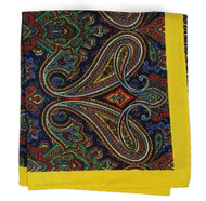 100% Silk Pocket Square - Yellow, Green & Blue Paisley Design 12.5 x 12.5