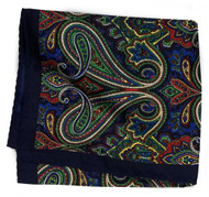 100% Silk Pocket Square - Navy Blue Paisley Design 12.5 x 12.5
