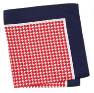 100% Silk Pocket Square - Bright Red & White Houndstooth & Navy 12.5in