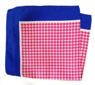 100% Silk Pocket Square - Bright Pink & White Houndstooth & Royal 12.5in