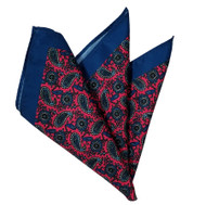Paisley Pocket Square - Dark Hot Pink and Dark Smokey Blue 12in