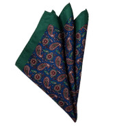 Paisley Pocket Square - Dark Green and Dark  Blue - 12in x 12in