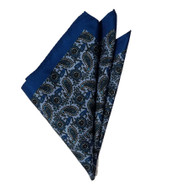 Paisley Pocket Square - Blue & Dark Smokey Blue 12in x 12in