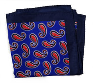 100% Silk Pocket Square - Royal Blue with Big Red Paisleys 12.5 x 12.5