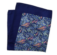100% Silk Pocket Square - Blue with Pink Paisley Scroll Design 12.5 x 12.5