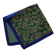 100% Silk Pocket Square - Royal Blue Dot & Green Paisley Design 12.5 x 12.5