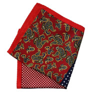100% Silk Pocket Square - Navy Blue Dot & Red Paisley Design 12.5 x 12.5
