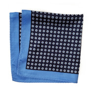 100% Silk Pocket Square - Baby Blue & Navy Polka Dot 12.5in x 12.5in