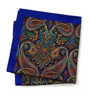 100% Silk Pocket Square - Royal Blue with Burgundy Paisley Design 12.5 x 12.5