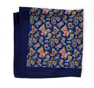 100% Silk Pocket Square - Dark Blue Paisley Design 12.5 x 12.5