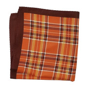 100% Silk Pocket Square - Orange and Brown Plaid Design 12.5 x 12.5
