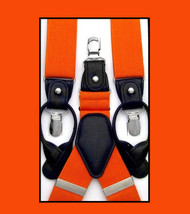 Convertible Button & Clip Stretch Braces - Suspenders - Orange
