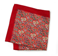 100% Silk Pocket Square - Melon Paisley Design with Red Border 12.5 x 12.5