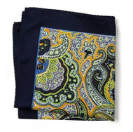 100% Silk Pocket Square - Dark Blue with Gold & Lime Paisley Design 12.5 x 12.5