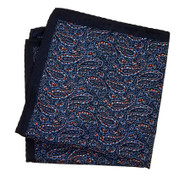 100% Silk Pocket Square - Dark Blue Small Paisley Design  12.5 x 12.5