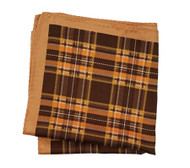 100% Silk Pocket Square - Tan, Orange and Brown Plaid Design 12.5 x 12.5